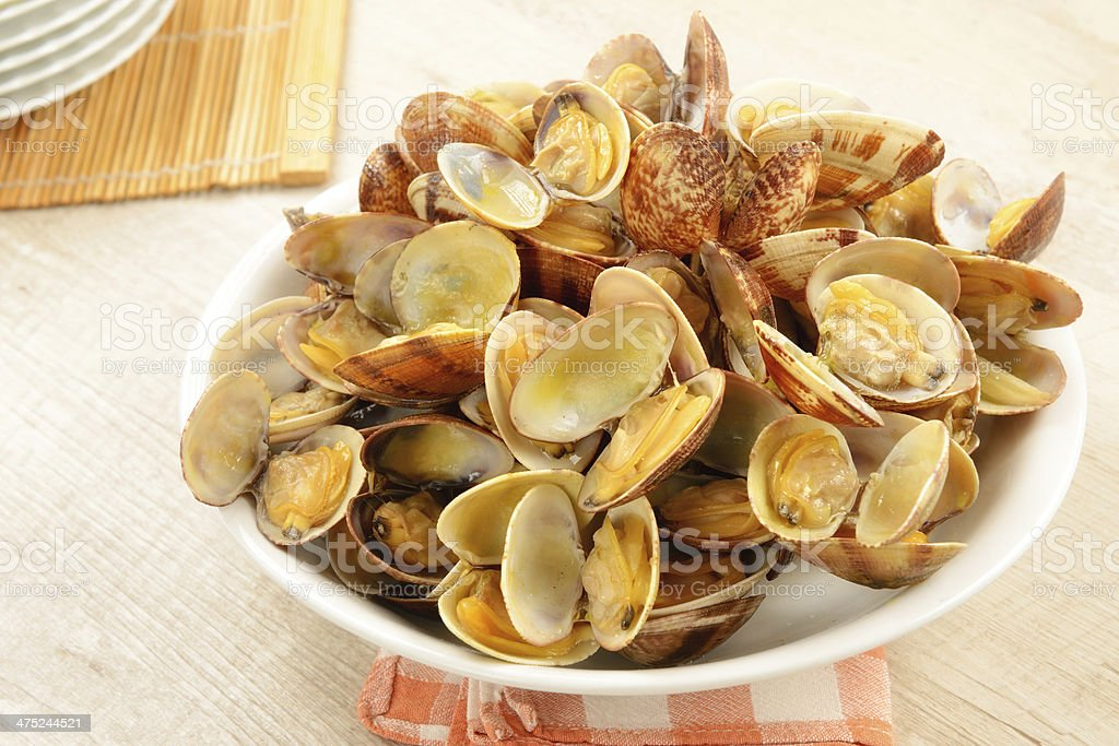 Appetizing dish of clams cooked stock photo