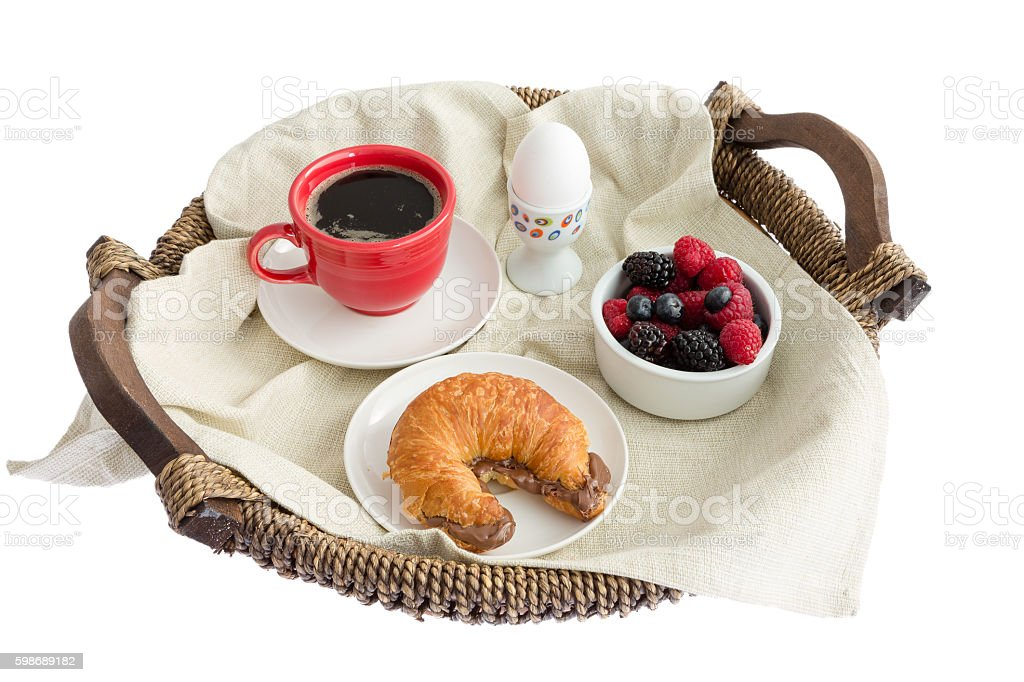 Appetizing Food on Rustic Breakfast Tray stock photo