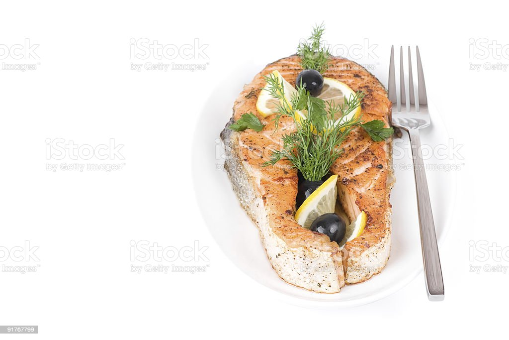 Appetizing Grilled Salmon royalty-free stock photo
