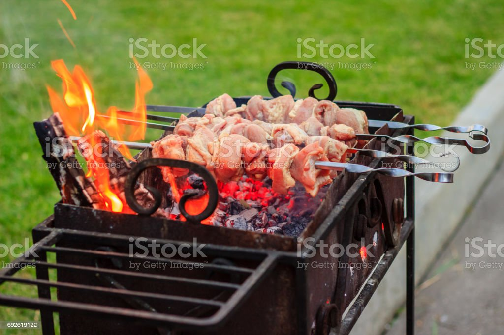Appetizing meat is fried in the open air stock photo
