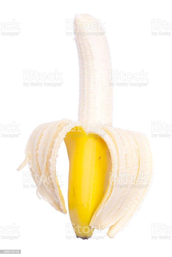Appetizing peeled ripe banana isolated on a white background stock photo