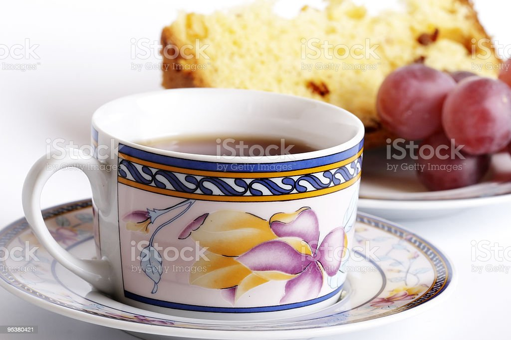 Appetizing pie and cup of tea royalty-free stock photo