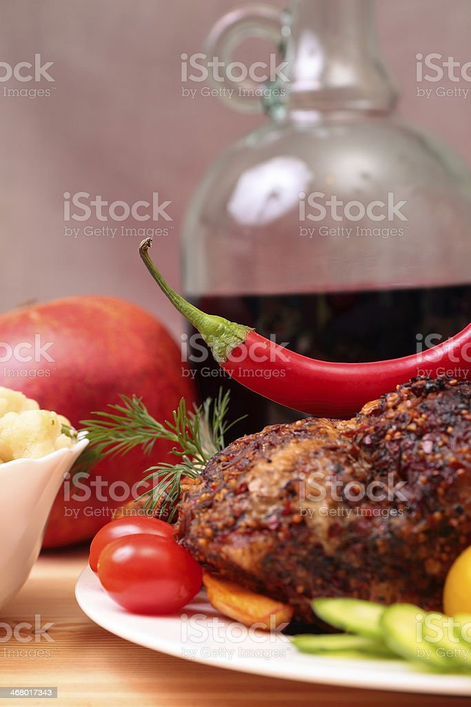 Appetizing roasted fillet of pork royalty-free stock photo