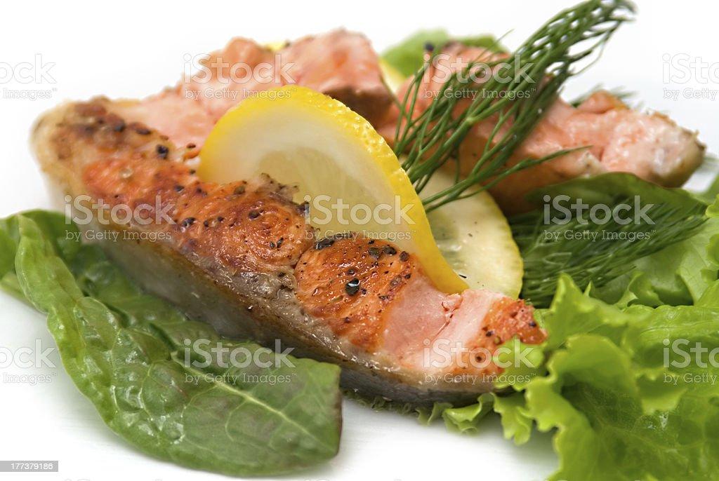 Appetizing salmon steak royalty-free stock photo