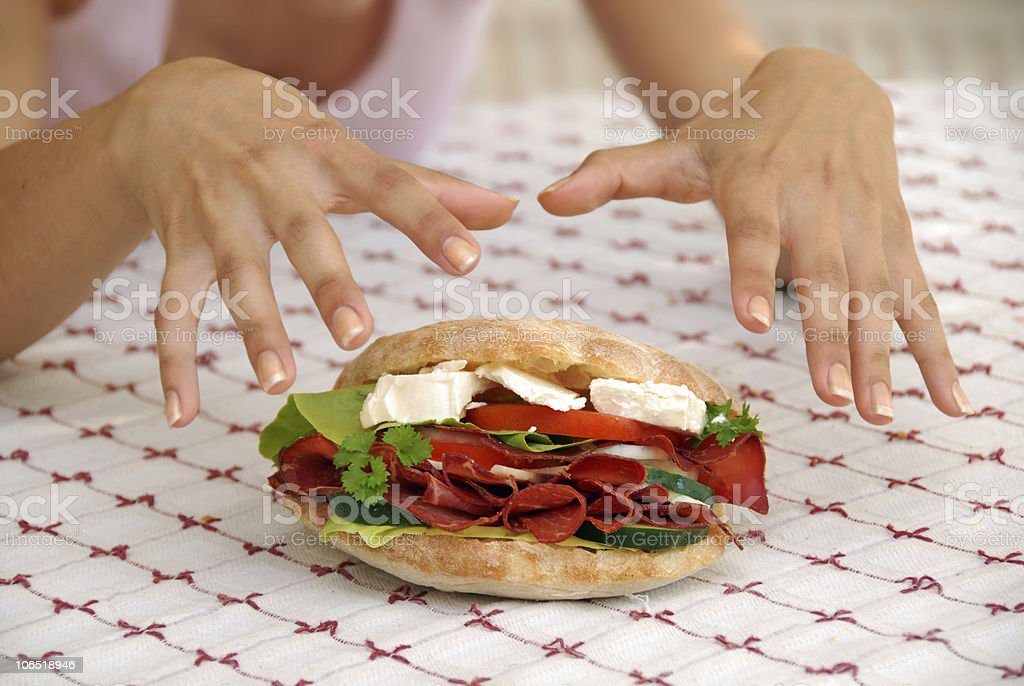 Appetizing sandwich with ham and cheese royalty-free stock photo