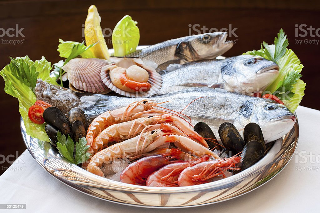 Appetizing seafood platter. stock photo