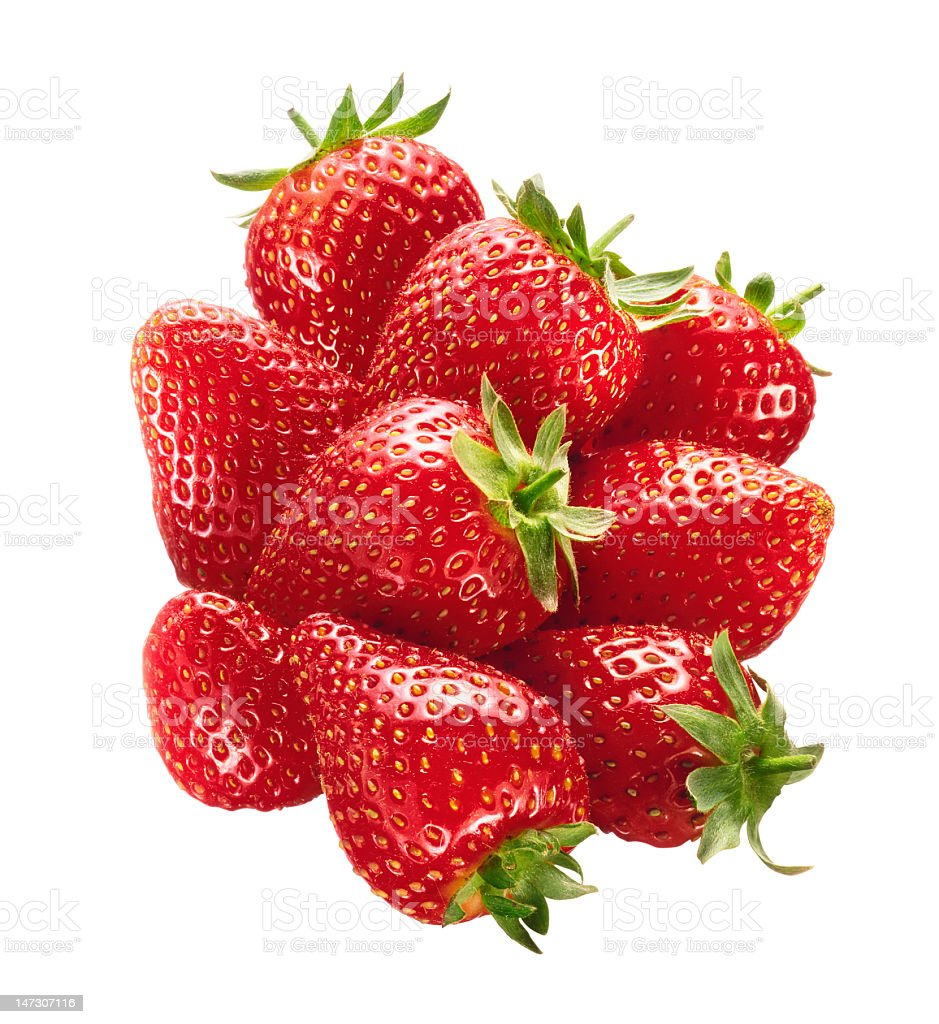 Appetizing strawberries isolated with clipping path royalty-free stock photo