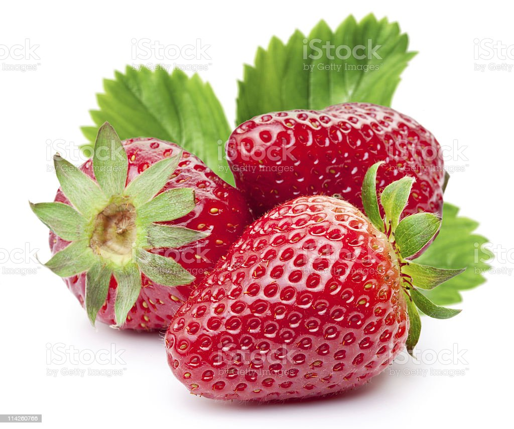 Appetizing strawberries with leaves. stock photo