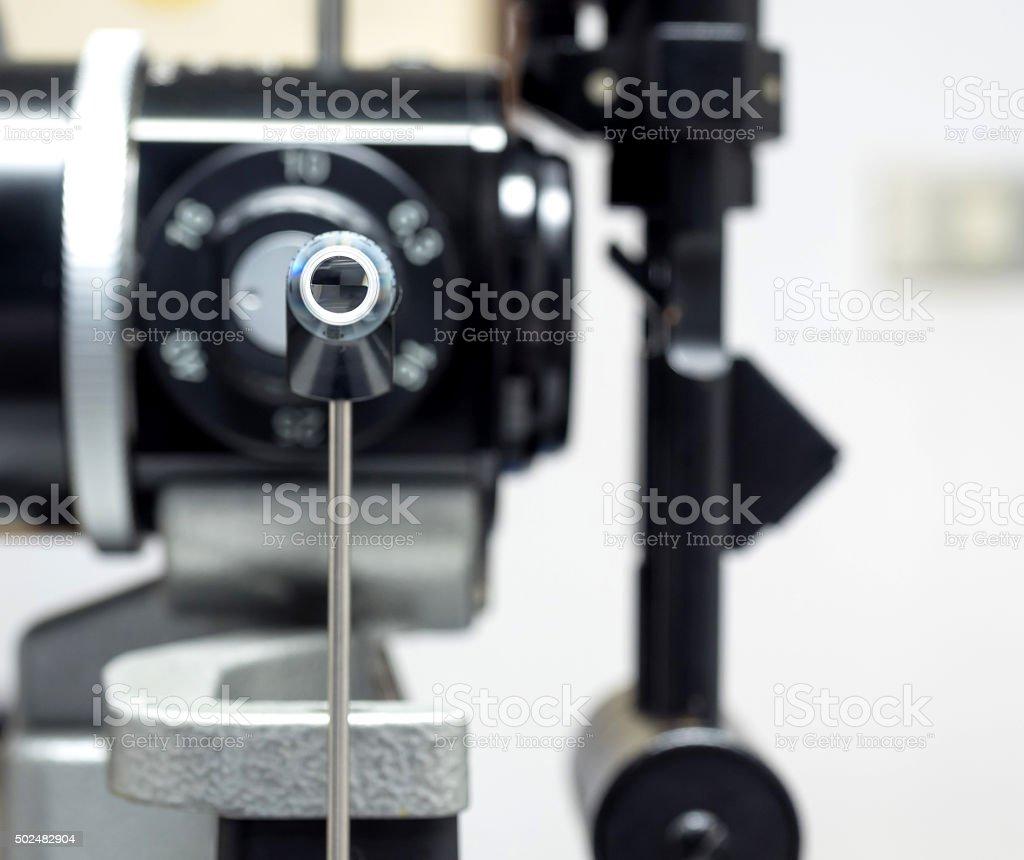 Applanation eye tonometry is medical instrument stock photo