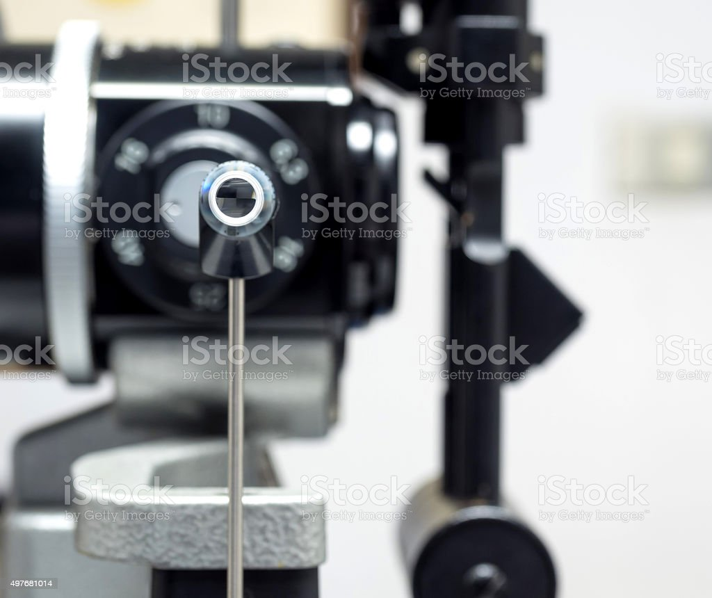Applanation tonometry for measure eye pressure stock photo