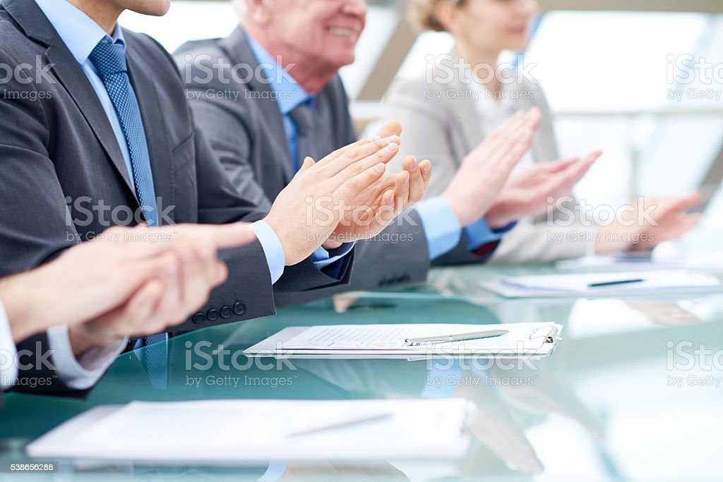 Applauding after presentation stock photo