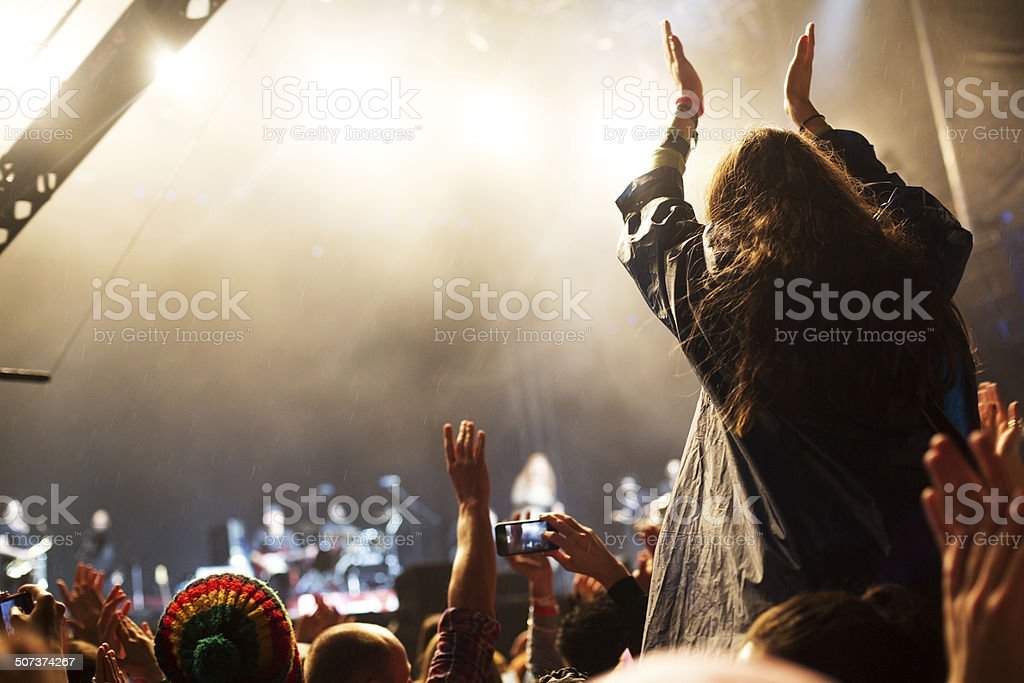 Applauding at the concert stock photo