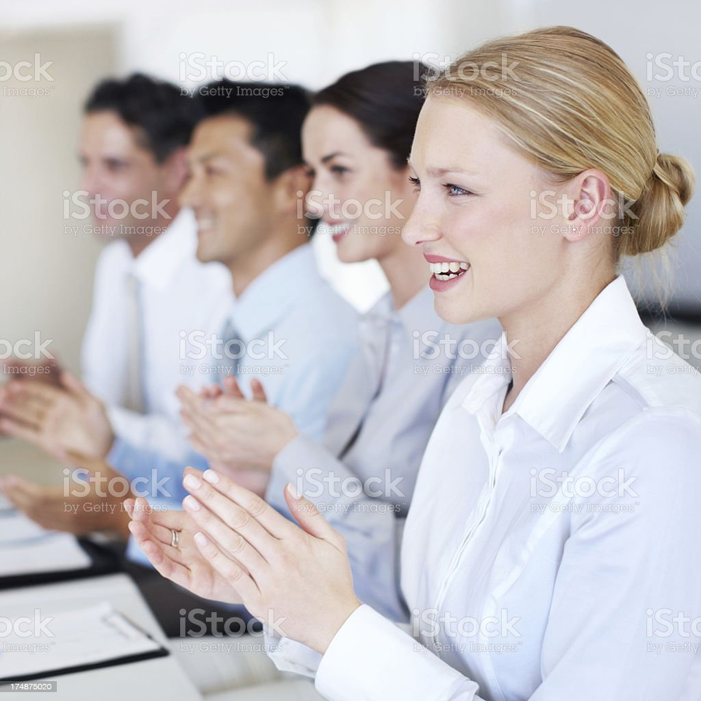 Applauding business success royalty-free stock photo