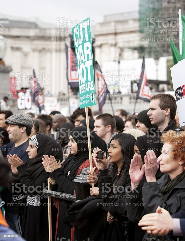 Applauding crowd of antiwar protesters royalty-free stock photo