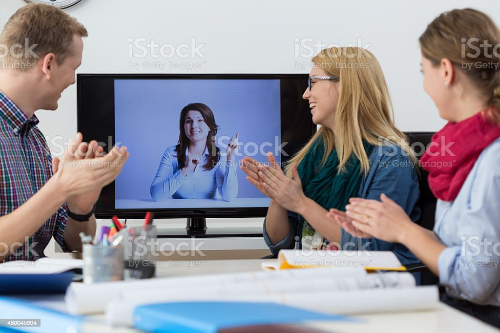 Applause after report stock photo