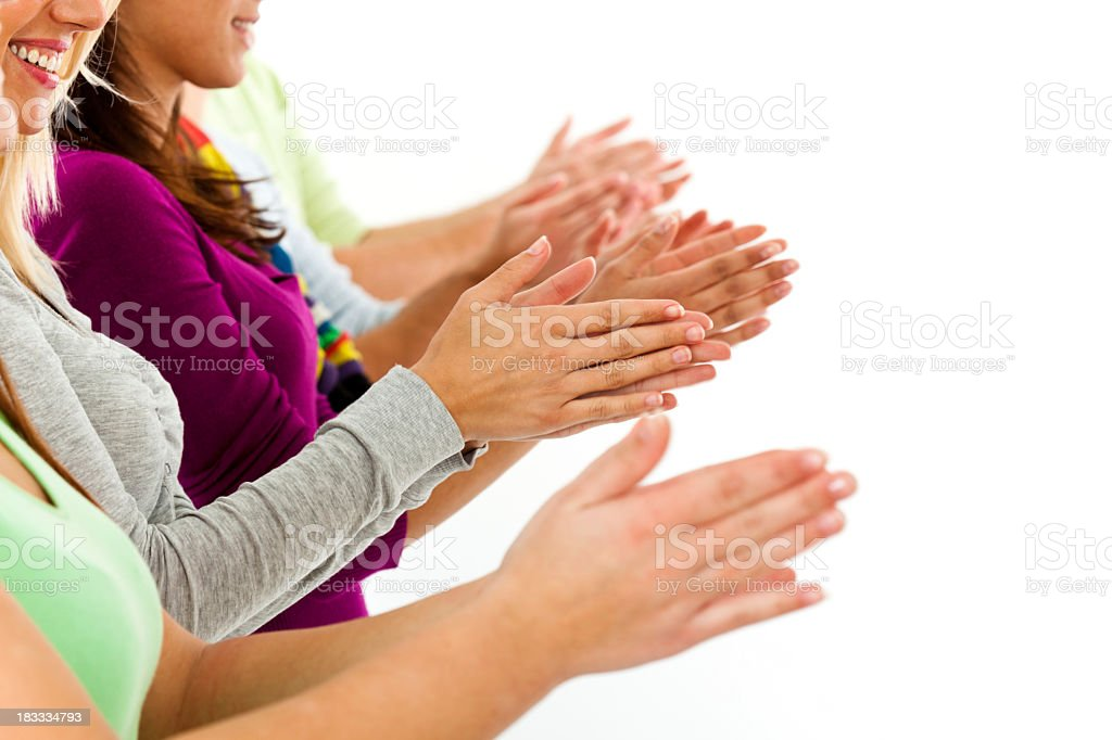 Applause - Group of people standing in row and applauding royalty-free stock photo
