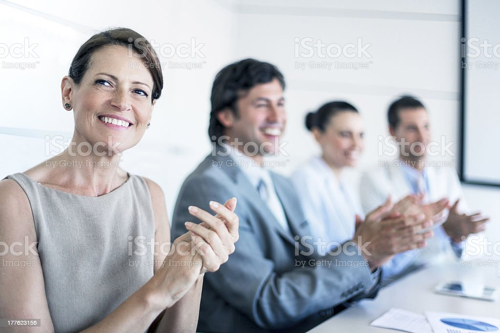 Applauses in a seminar royalty-free stock photo