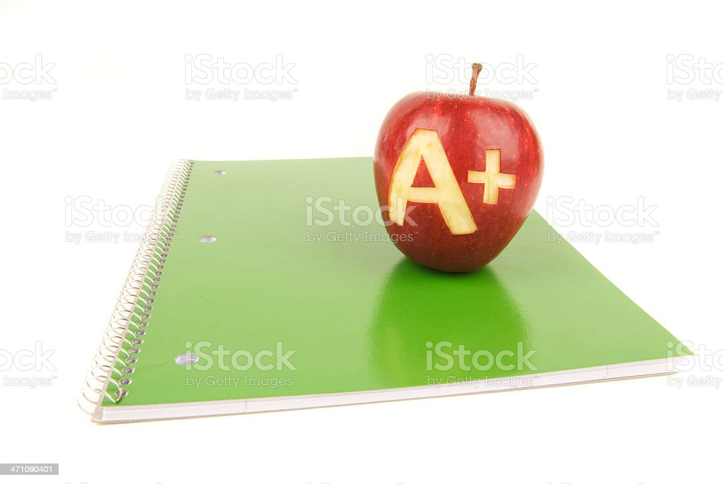 Apple A+ on Green School Spiral Notebook White Background royalty-free stock photo