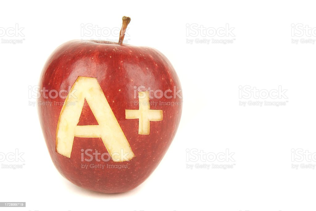 Apple A+ White Background royalty-free stock photo
