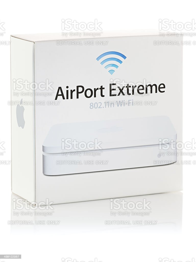 Apple AirPort Extreme 802.11n Wi-Fi Router Retail Package stock photo