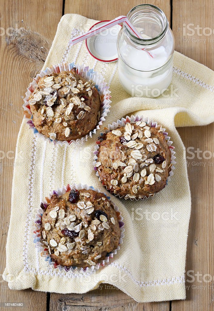 Apple and berry wholewheat crumble muffins stock photo