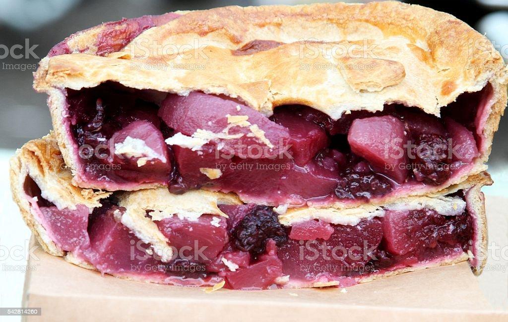 Apple and blackberry pie stock photo