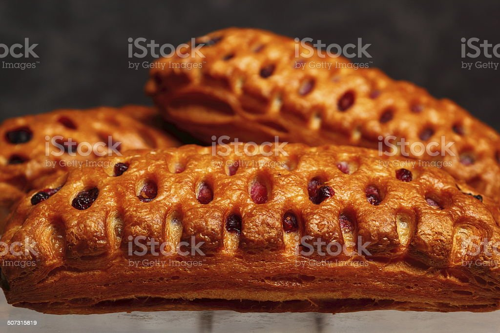 Apple and Blueberry Puff Pastry. stock photo