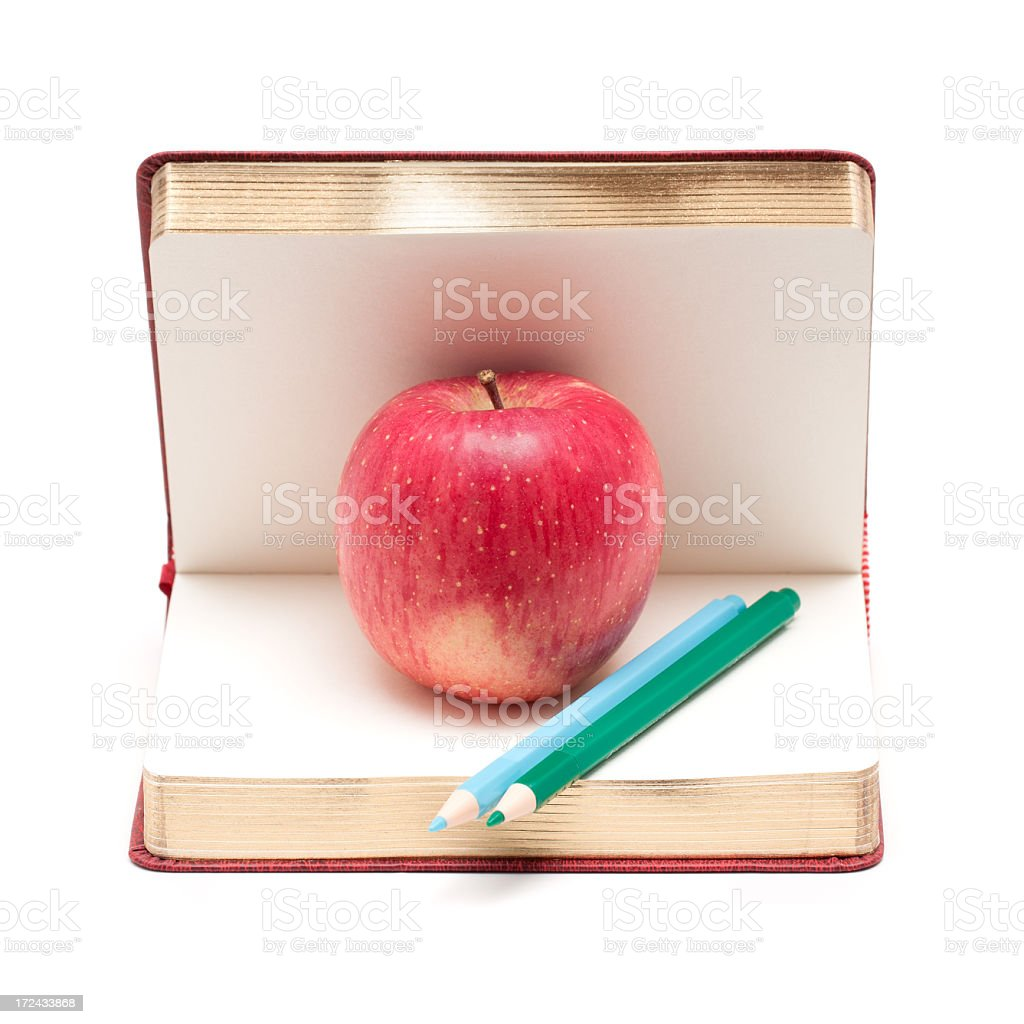 Apple and Book isolated on white background royalty-free stock photo