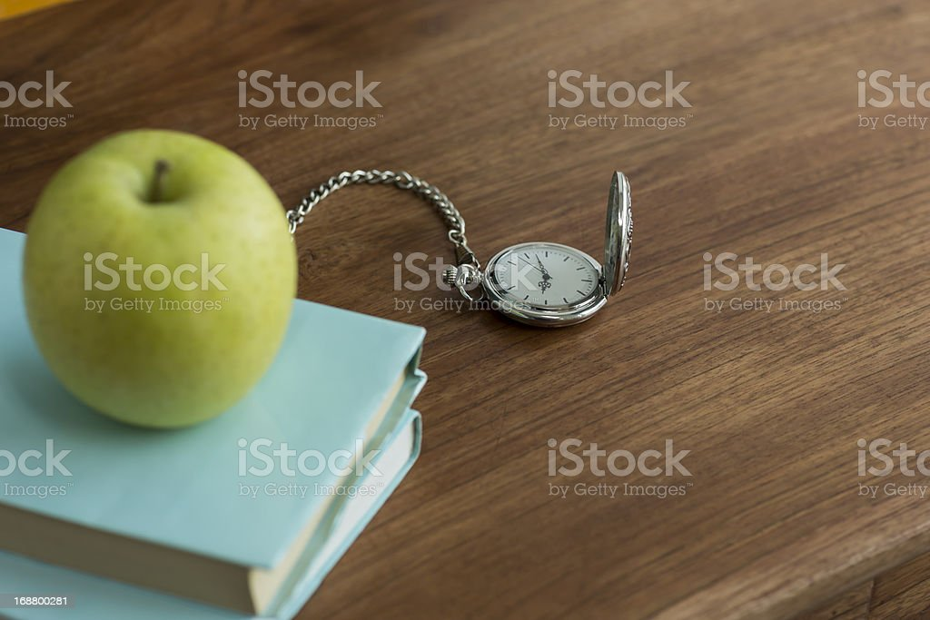 Apple and book royalty-free stock photo