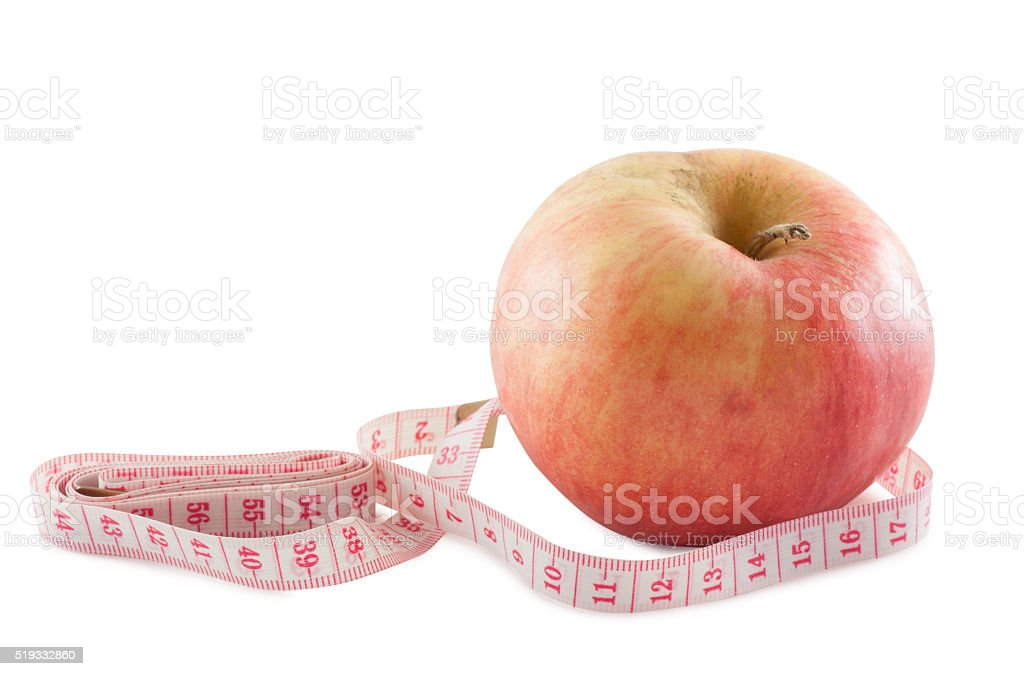 Apple and centimeter stock photo