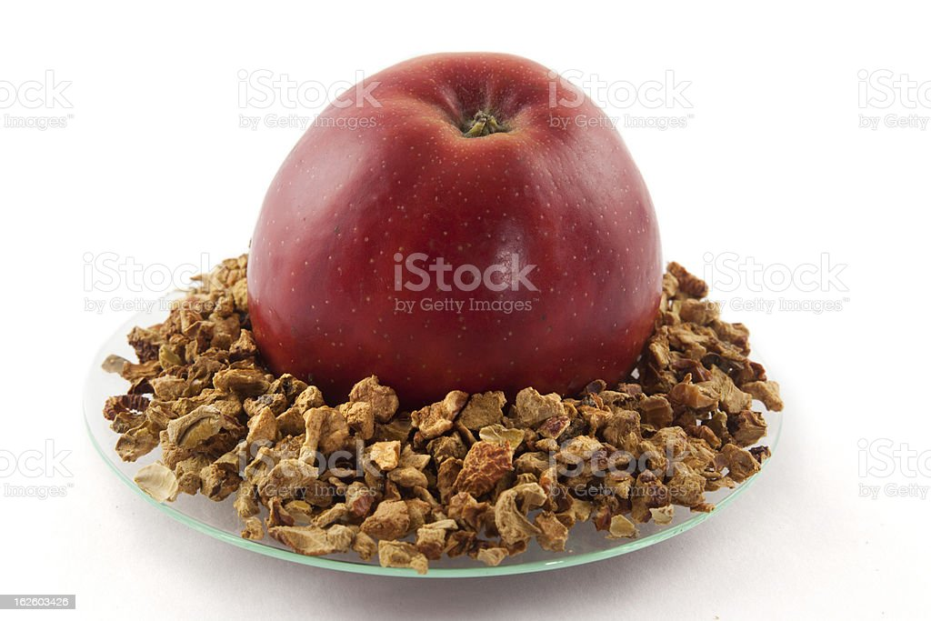 Apple and dried pieces stock photo