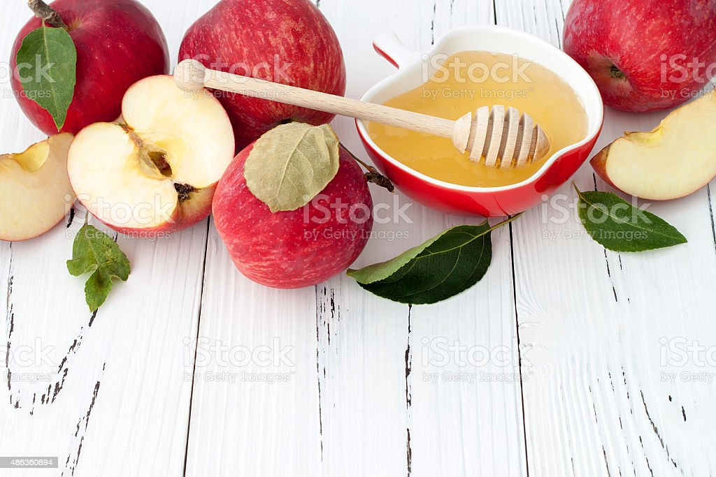 Apple and honey,  jewish New Year Rosh Hashana traditional food stock photo