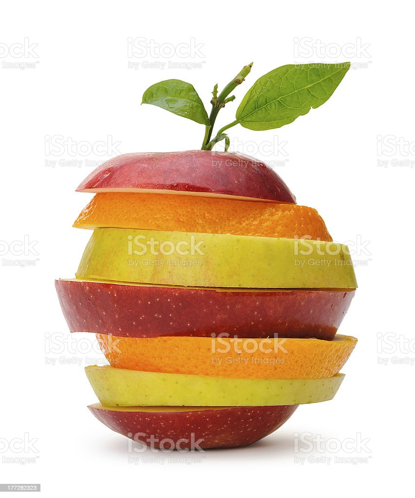 Apple and orange cut sections royalty-free stock photo