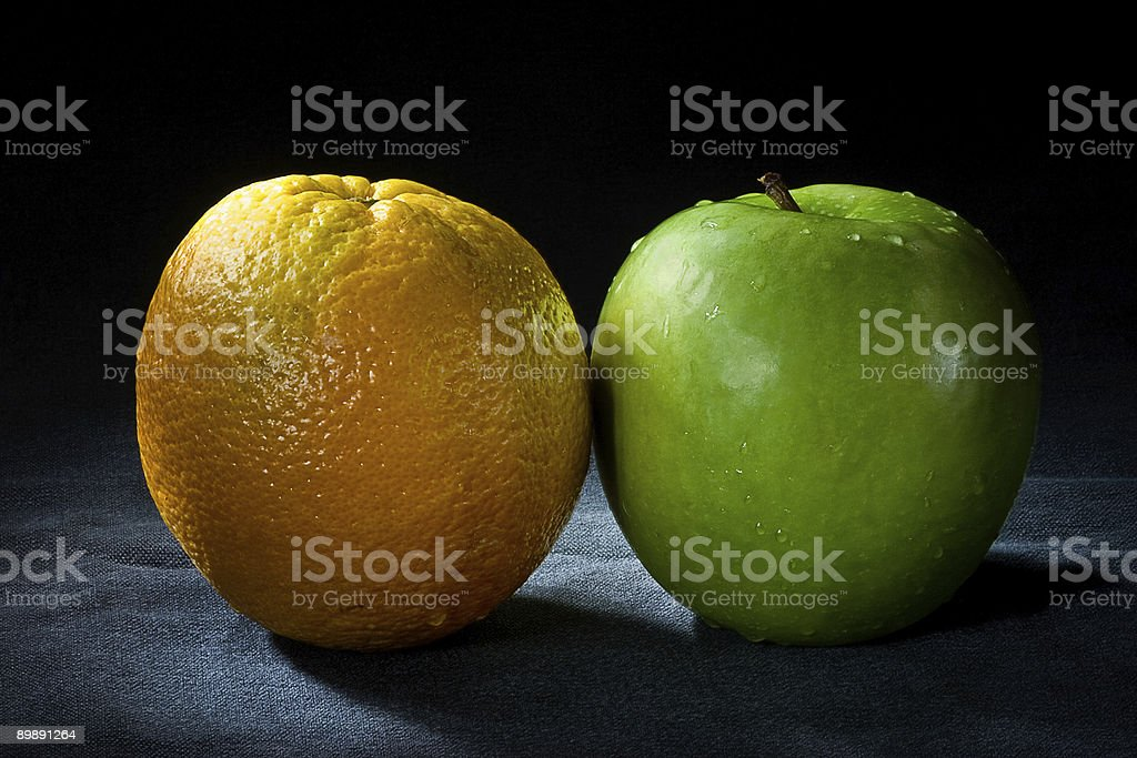 Apple and Orange royalty-free stock photo