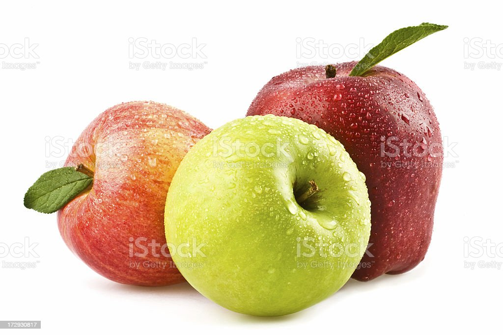 apple  and peach composition isolated on white stock photo