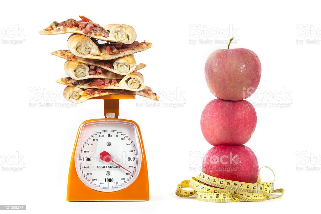 Apple and Pizza Slilces royalty-free stock photo