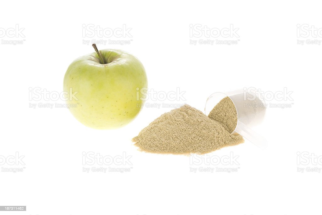 Apple and protein powder royalty-free stock photo