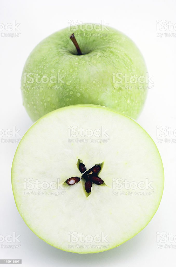 apple and pulp on white background stock photo