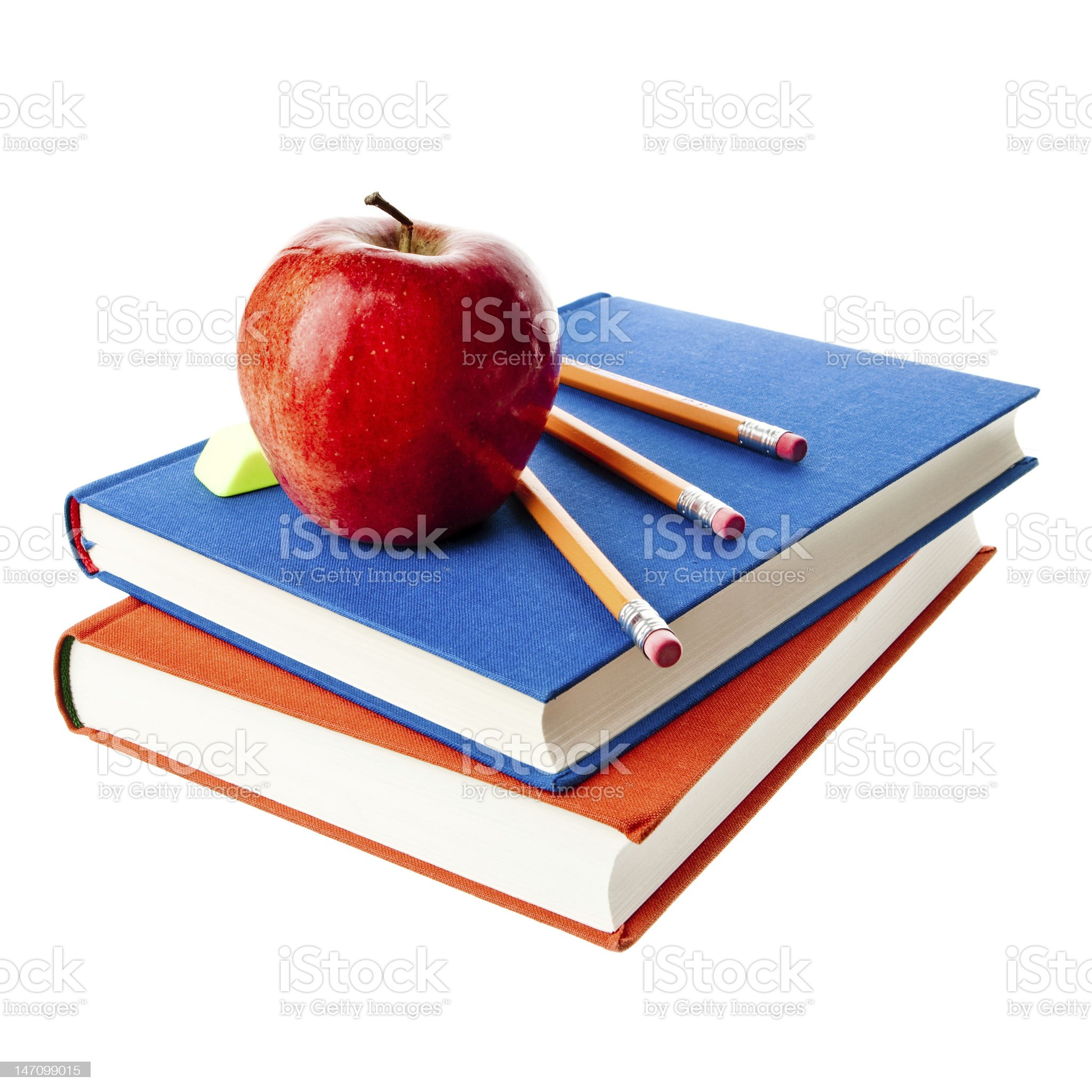 Apple and school essentials royalty-free stock photo