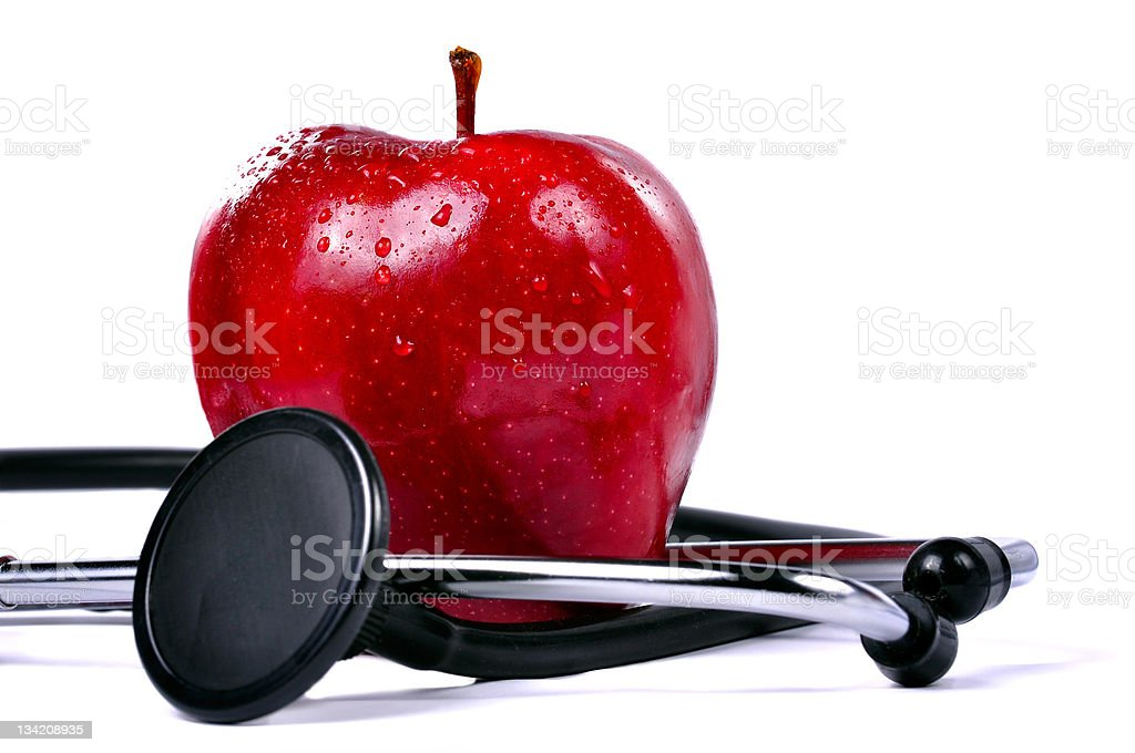 Apple and Stethoscope royalty-free stock photo