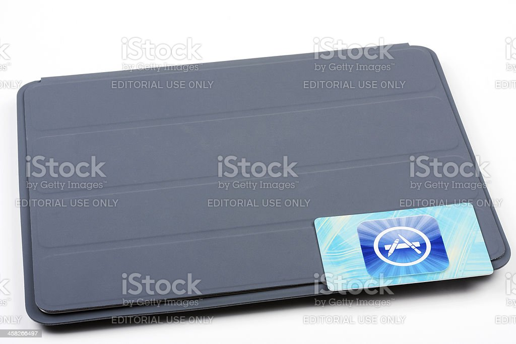 Apple App Store card and iPad royalty-free stock photo