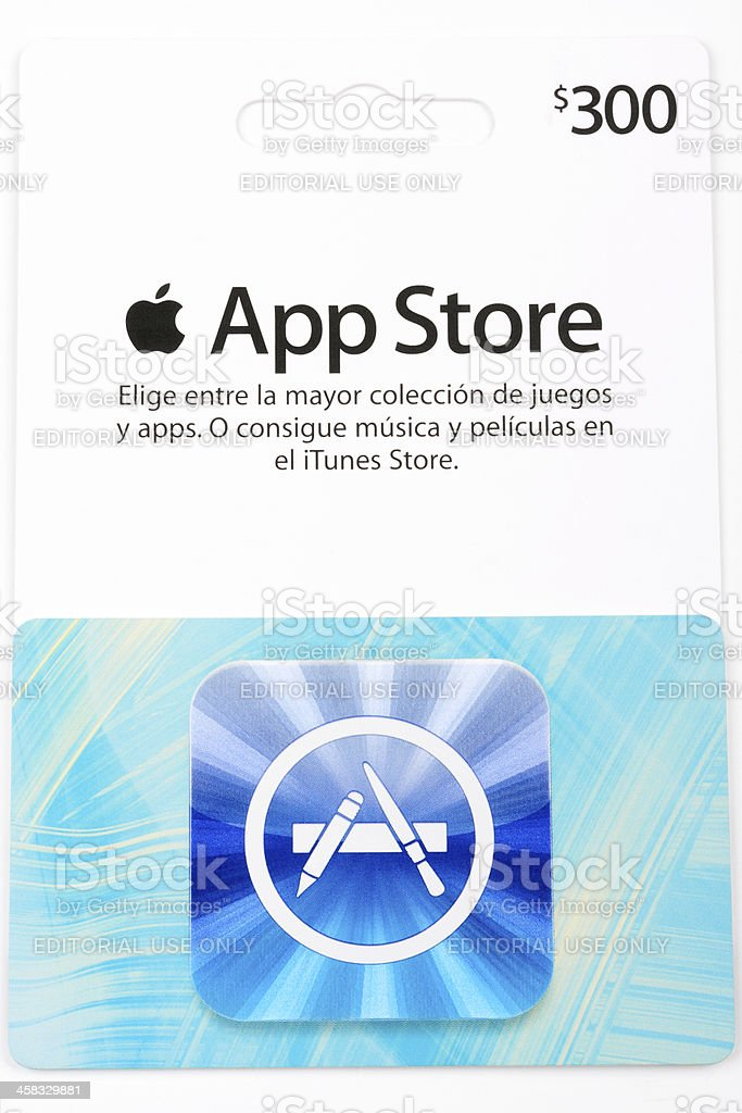 Apple App Store card stock photo