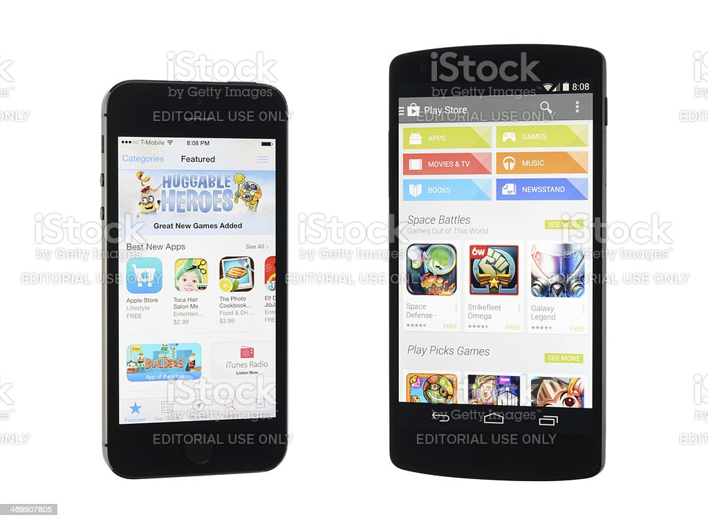 Apple App Store vs Google Play Store stock photo