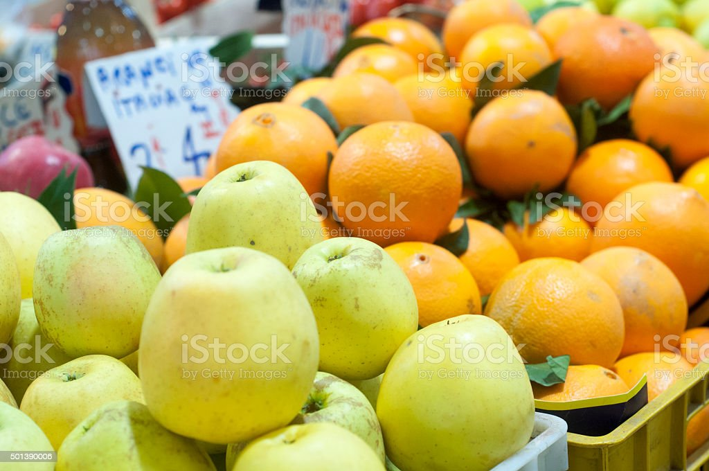 Apple at the farmers Market stock photo