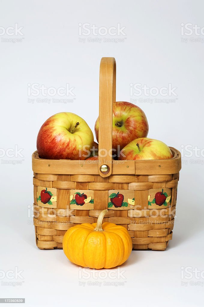 Apple Basket and a Pumpkin royalty-free stock photo