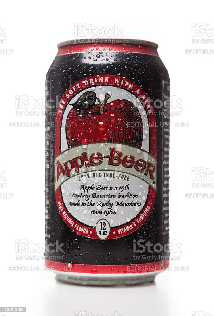 Apple Beer soda can stock photo