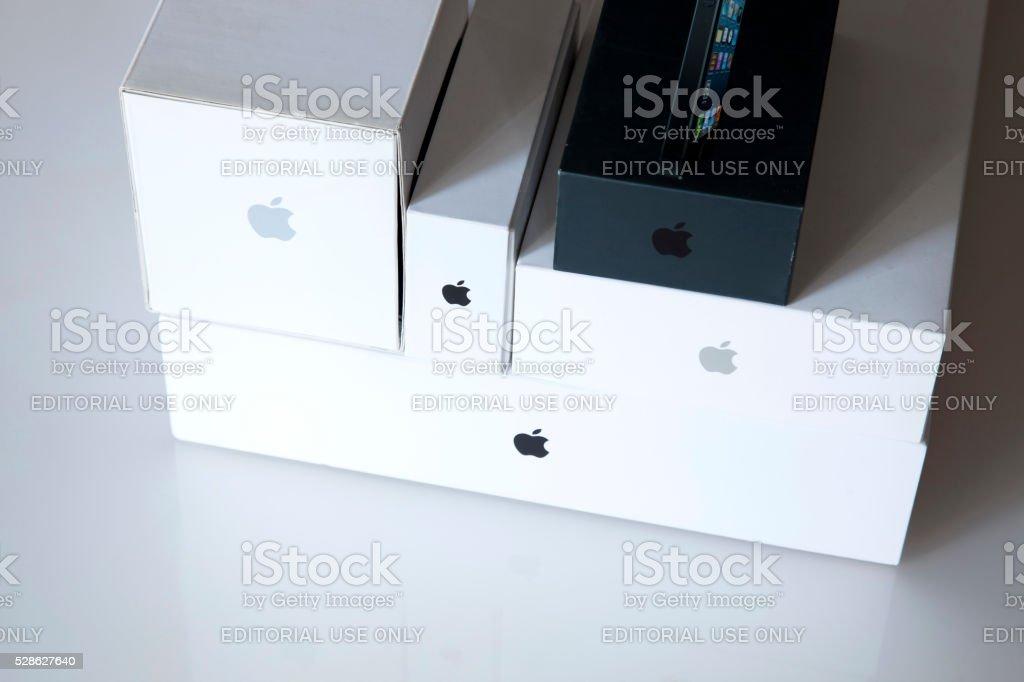 Apple brand logo boxes stock photo