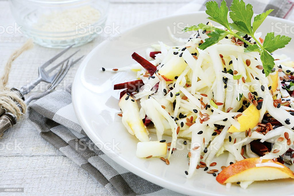 apple cabbage salad with beetroot stock photo
