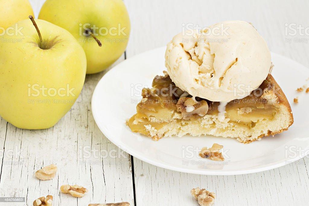 Apple Cake A La Mode stock photo