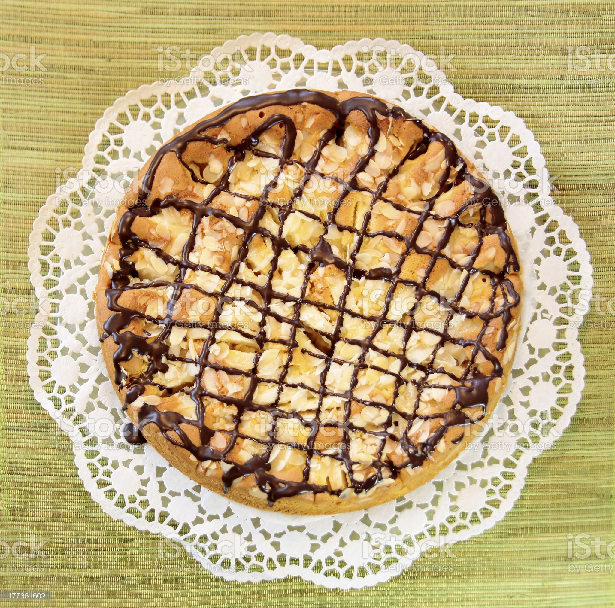 Apple cake on tea table royalty-free stock photo